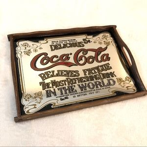 Vtg 1970s Coca Cola Advertisement Mirrored Tray